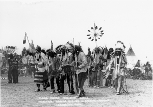 Members of the Blood tribe participate in a pow-wow