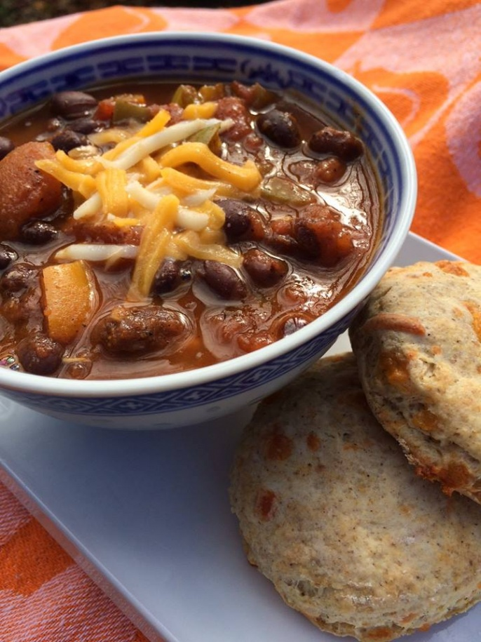 Cricket Black Bean Chili and cricket biscuits future food